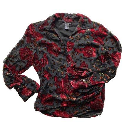 vintage thin sheer velveteen shirt
