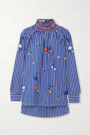 Blue Smocked embroidered striped cotton-poplin blouse   Prada   NET-A-PORTER