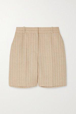 Emil Herringbone Linen Shorts - Beige