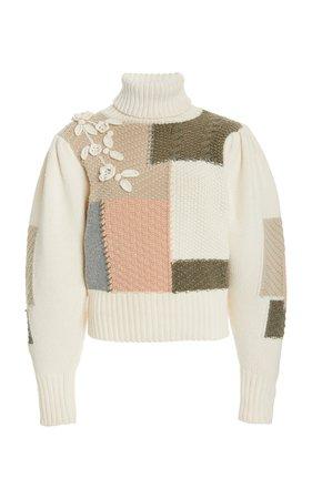 Allan Patchwork Cotton Wool-Blend Turtleneck Sweater by LoveShackFancy | Moda Operandi