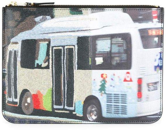 bus print zipped clutch