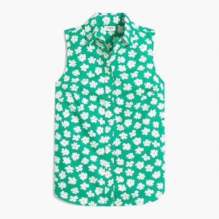 Leopard sleeveless poplin shirt in signature fit