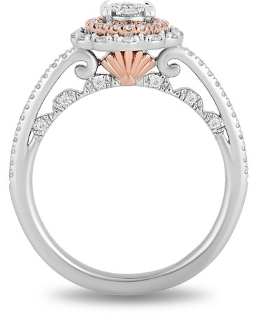 Enchanted Disney Fine Jewelry Enchanted Disney Diamond Ariel Engagement Ring (1/2 ct. t.w.) in 14k White & Rose Gold & Reviews - Rings - Jewelry & Watches - Macy's
