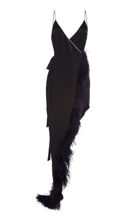 Crystal And Feather-Trimmed Asymmetrical Dress