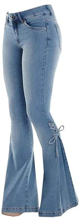 Qianxitang Women's Wide Leg Jeans High Waist Trousers Bow Bell Bottom Denim Pants (Light Blue, XXX-Large) at Amazon Women's Jeans store