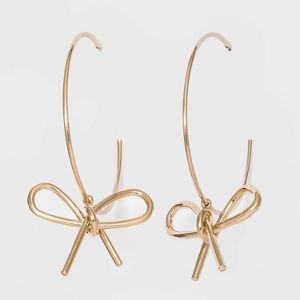 SUGARFIX By BaubleBar Slim Hoop Earrings With Bows - Gold : Target