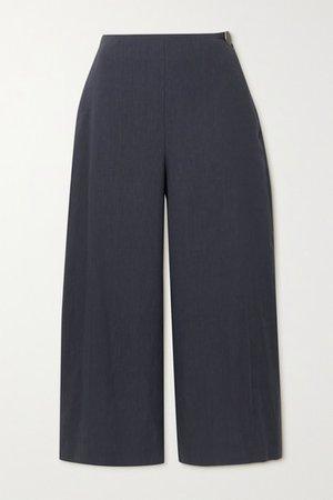 Cropped Linen-blend Wide-leg Pants - Black