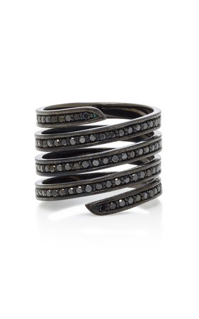 Black Rhodium Silver Diamond Ring by Lynn Ban Jewelry | Moda Operandi