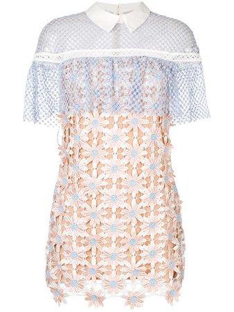 SELF-PORTRAIT 3D Floral Lace Cape Mini Dress