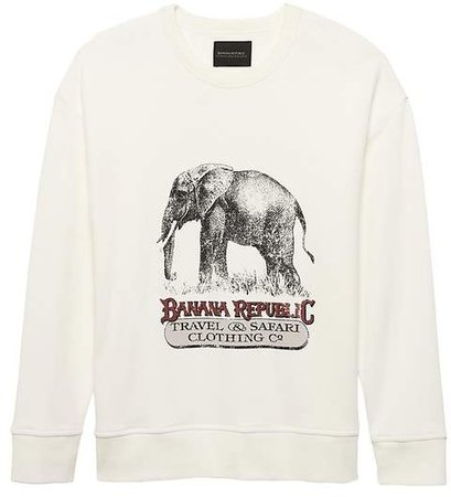 JAPAN ONLINE EXCLUSIVE French Terry Elephant Graphic Sweatshirt