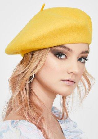 Olive & Pique Mustard Yellow Jessie Beret | Dolls Kill
