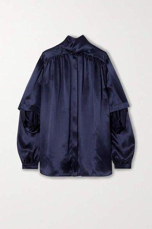 Tie-neck Layered Silk-satin Blouse - Navy