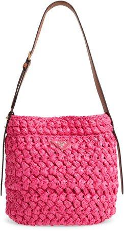 Medium Woven Raffia Shoulder Bag