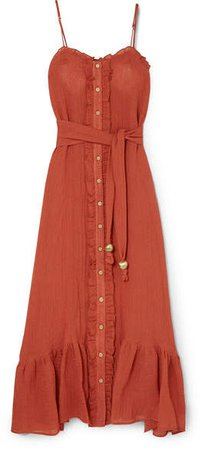 Ruffled Tiered Linen-blend Gauze Maxi Dress - Orange