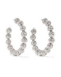 Tom Ford Oversized Silver-tone Crystal Hoop Earrings in Metallic - Lyst