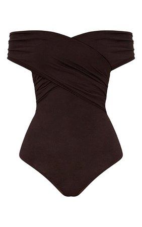 Black Wrap Bardot Thong Bodysuit | Tops | PrettyLittleThing