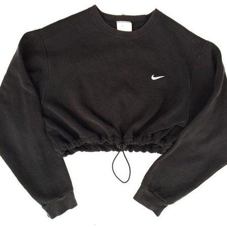 Reworked Nike Crop Sweatshirt Black