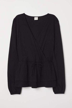 Wrapover Cotton Jersey Blouse - Black