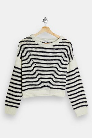 PETITE Stripe Wave Knitted Sweater   Topshop