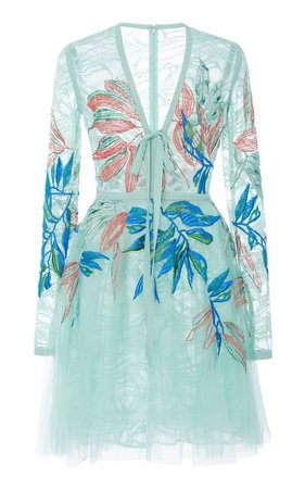 Floral Embroidered Mini Dress by Elie Saab | Moda Operandi