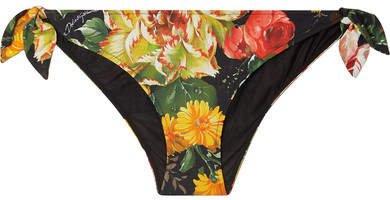 Floral-print Bikini Briefs - Black