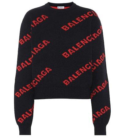 Logo intarsia wool-blend sweater