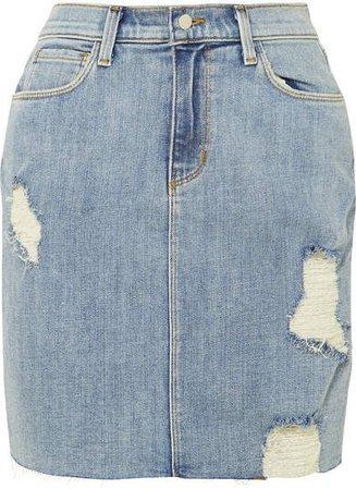 The Manuela Distressed Stretch-denim Skirt - Light denim