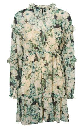 VERO MODA Cleo Tie Neck Ruffle Long Sleeve Minidress floral