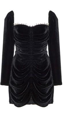 Markarian Crawford Crystal-Embellished Ruched Velvet Mini Dress
