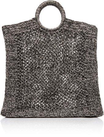 Mizele Fishnet-Raffia Tote Bag