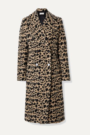 Belloa Double-breasted Animal-print Wool-blend Coat - Brown