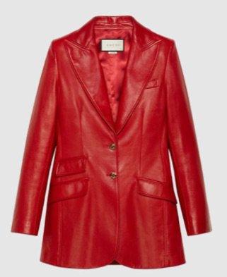 Gucci red leather blazer