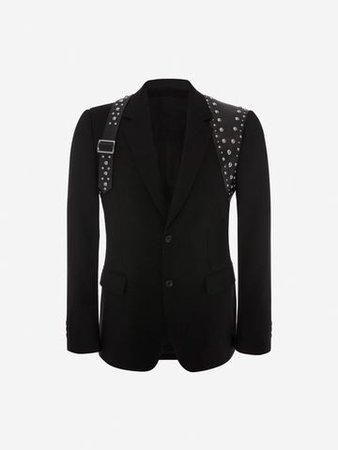 Men's Black Studded Harness Jacket | Alexander McQueen