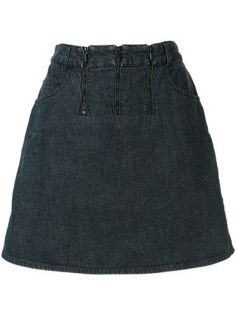 Chanel Pre-Owned Triple Zip Denim Skirt - Farfetch