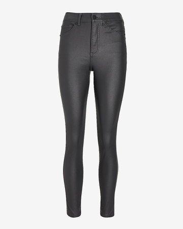 High Waisted Gray Coated Skinny Jeans