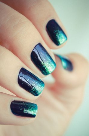 Glitter Turquoise Ombre Nails