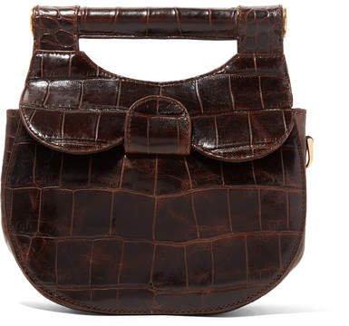 STAUD - Madeline Mini Croc-effect Leather Shoulder Bag - Dark brown