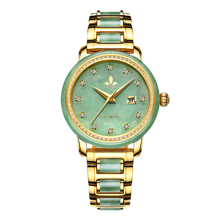 CHIYODA Luxury Automatic Green Jade Watch for Women, Swiss Automatic Watch with Calendar and Diamonds Jade Dial Precious Timepiece for Collection purchasing, souring agent   ECVV.com purchasing service platform