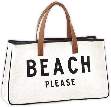 """Amazon.com - Creative Brands D3713 Hold Everything Tote Bag, 20"""" x 11"""", Beach Please Black and White -"""