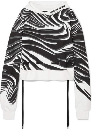 Oversized Printed Cotton-jersey Hoodie - White
