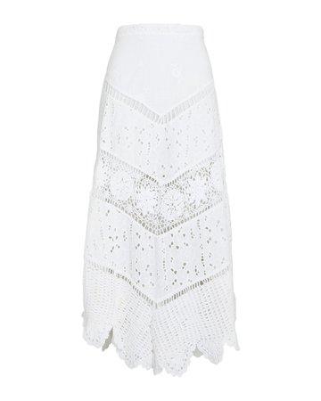 LoveShackFancy Garcelle Cotton Eyelet Midi Skirt | INTERMIX®