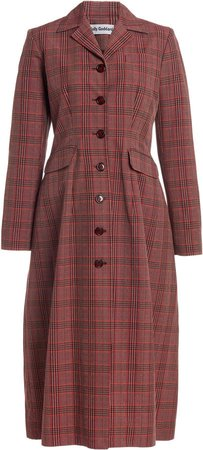 Molly Goddard Karolina Plaid Cotton-Blend Coat