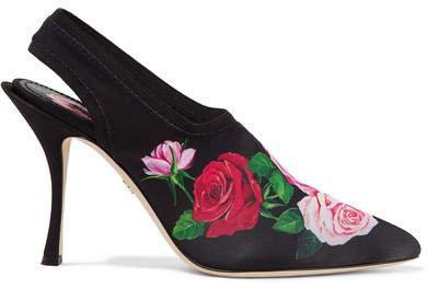 Floral-print Stretch-jersey Slingback Pumps - Black