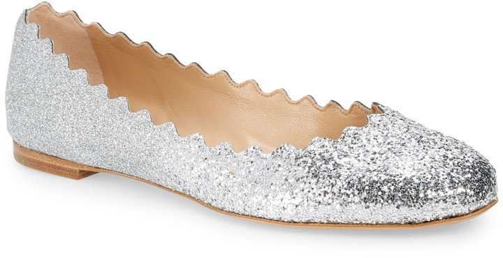 Lauren Glitter Scalloped Ballet Flat