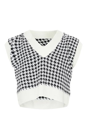 Tall Monochrome Crop V Neck Knitted Vest | PrettyLittleThing USA
