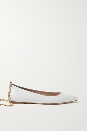 Chain-embellished Leather Point-toe Flats - White