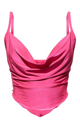 Hot Pink Slinky Cowl Neck Pointed Hem Crop Top   PrettyLittleThing USA