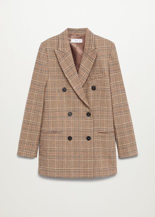Wrap check suit blazer - Women   Mango USA brown