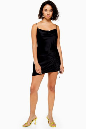 PETITE Black Ruched Mini Slip Dress | Topshop