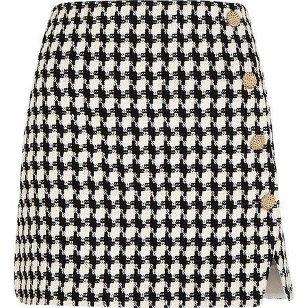 River Island Black dogtooth boucle mini skirt